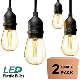 addlon 2 Pack 48ft LED Outdoor String Lights Hanging Edison Plastic Bulbs Commercial Grade Dimmable Patio Café Light, UL Listed Weatherproof Strand 15 Hanging Sockets for Market Bistro Garden Backyard