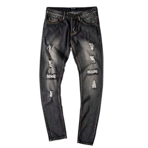 Slim Uomo Sportivi Elegante Nero In Pantaloni Casual Pants Uomo D Strappati Da Jeans Qinsling Fit wzvIS7xqgw