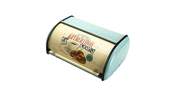 Cuasting Vintage Panera Caja de almacenamiento Rollup Top Light Blue Peque/ño Recubierto en Polvo Pan Hierro Snack Cajas Contenedor de Alimentos para Cocina Decoraci/ón del Hogar