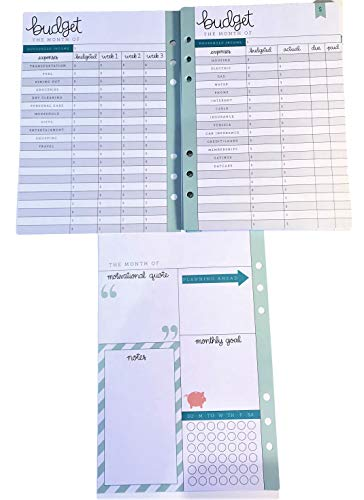 Budget Planner Inserts for 6 Ring Binder Planner, 26 Double Sided Sheets, Bills, Savings ()
