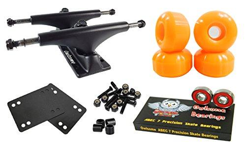 Owlsome 5.0 Black Aluminum Skateboard Trucks w/52mm Wheels Combo Set (Orange)