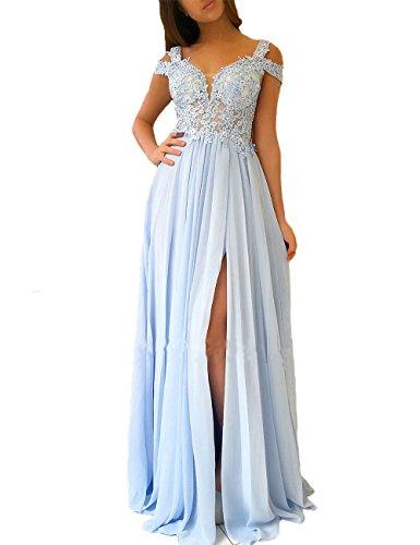 Women's Lace Appliqued Evening Gowns Side Split A-line Prom Dresses Long (US10, Sky Blue) (Lace Open Back Cap)