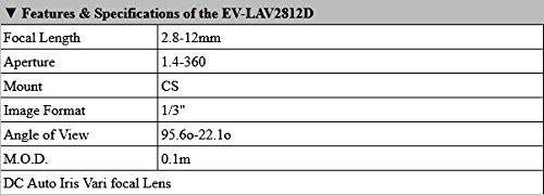 Evertech 10 Pcs 2.8-12mm Varifocal Auto Iris Lens for Professional CCD Cameras by Evertech (Image #6)