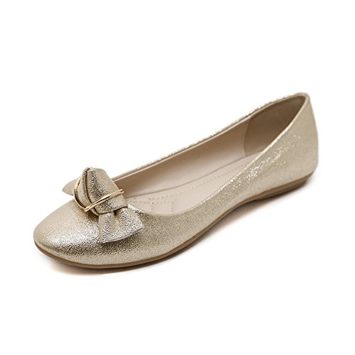 Komfort Damen Gold Bögen OCHENTA Fashion Slip Schuhe On Ballerinas g5HxwqxFa