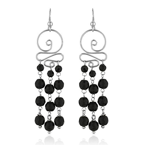Dangling Gemstone Earrings (925 Sterling Silver Swirl Black Onyx Gemstone Spheres Long Dangle Statement Earrings)