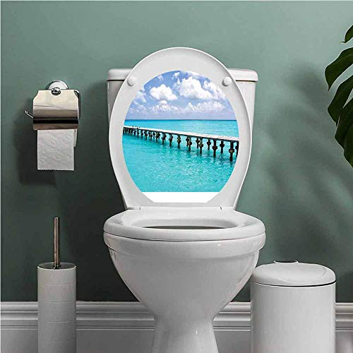 Dale Earnhardt Seat Covers - SCOCICI1588 Beach Toilet Seat Tattoo Cover Duck in Clear Empty Ocean on a Sunny Day Tropical Coastal Themed Image Vinyl Bathroom Decor Turquoise Blue White W8XL11 INCH