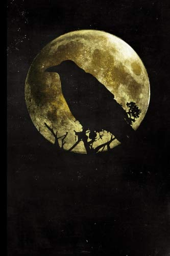 Full Moon Raven: Halloween Full Moon Raven Silhouette | 128 College Ruled Pages: 6 x 9 in Blank Lined Journal with Soft Matte Cover | Notebook, Diary, ... school, students, -