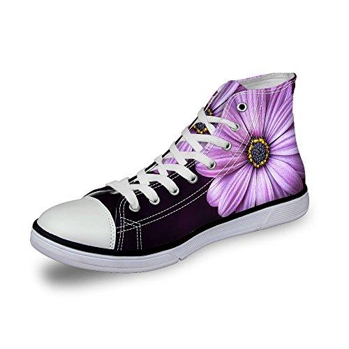 För U Designar Vintage Ros Blommönster High-top Snörning Mode Sneaker För Kvinnliga Flickor Lila