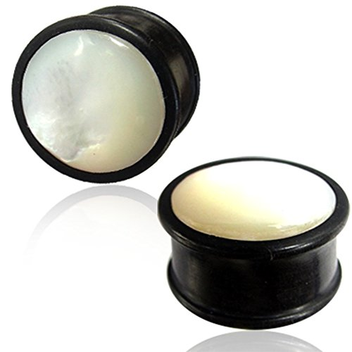Mother Of Pearl Organic Plugs - Earth Accessories Flared Saddle Expander Shell and Organic Wood Plug Earrings - with Abelone, Mother of Pearl, and More - Sold as Pair