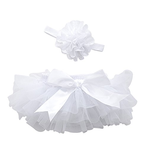 Baby Girls' Bloomers Infant Toddlers Cotton Tulle Ruffle with Bow Diaper Cover and headhand (L(12-24Month), White) (Bow Bloomers)