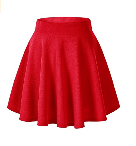 Afibi Girls Casual Mini Stretch Waist Flared Plain Pleated Skater Skirt (Small, Red) ()