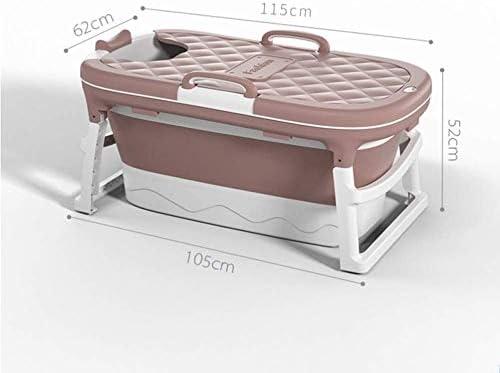 KJRJCQ 小スペース、PP TPE材料のためのシャワーストール用シャワー温水浴槽ポータブルバスタブでタブを浸漬大人の赤ちゃん幼児用ポータブル折り畳み式のバスタブ、 (Color : Pink)