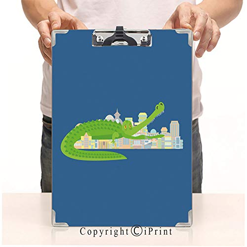 (Student's Painting Clipboard,Custom Clipboard, Aluminum,PVC,A4 Standard, Crocodile Eat City Rampage Mythical Monster Destroys Town)