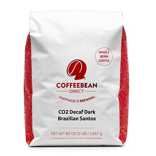 Coffee Bean Direct CO2 Decaf Dark Brazilian Santos Whole Bean, 5-Pound Bag