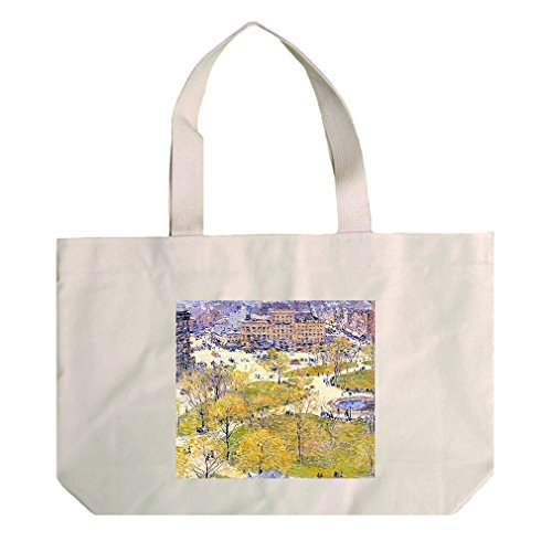 Union Square In Spring (Hassam) Cotton Natural Canvas Beach Tote - At Union Square Shopping