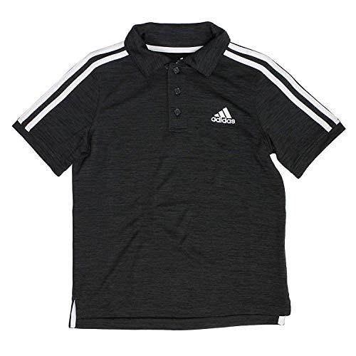 adidas Boys Golf Polo Shirt (Space Dye Black, Medium 10/12)