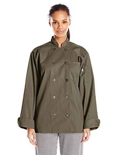 Uncommon Threads Unisex  Orleans Chef Coat, Olive, - Olive Chef Coat
