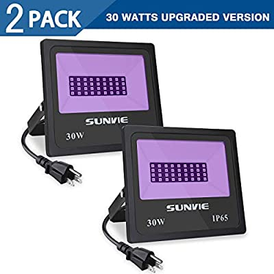 SUNVIE UV LED Black Light, Ultraviolet Outdoor Flood Light, IP65 Waterproof with Plug for Dance Party, Stage Lighting, Glow in The Dark, Aquarium, Body Paint, Fluorescent Poster, Neon Glow