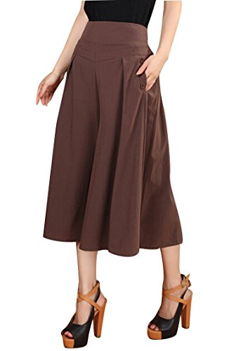 YINJIONG Lady High Waist Shorts Gaucho Capris Wide Leg Culottes Pants ()
