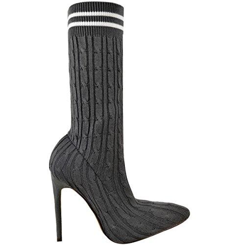 Mode Törstig Kvinna Strumpa Boots Stickad Hög Stilettklack Spetsiga Tå Skor Storlek Grå Stickad