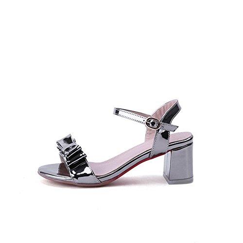 Amoonyfashion Mujeres Kitten-heels Soft Material Solid Hebilla Open-toe Sandals Gray