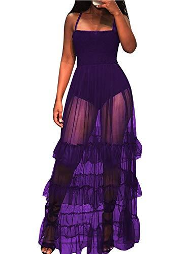 (WIFORNT Women Sexy Spaghetti Strap Sleeveless Tank Bodycon Bodysuit with Pleated Semi Sheer Mesh Ruffle Maxi Club Dress (Purple_1, M) )