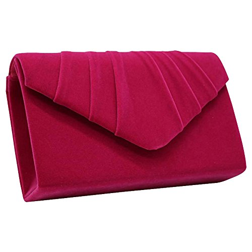 Envelope Hot Ivory Faux Bridal Pleated Party Bag Cckuu Suede Pink Womens Wedding Clutch Evening E7AxnZPwq