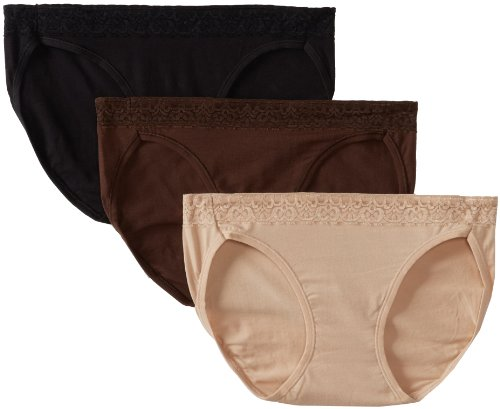 Hanes Women's Comfortsoft Waistband Stretch Bikinis w/ Lace (Size 7/Assorted), 3 Pack