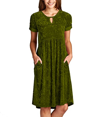 Halife Ladies'Short Sleeve A Line Babydoll Pocket Swing Dress Army -