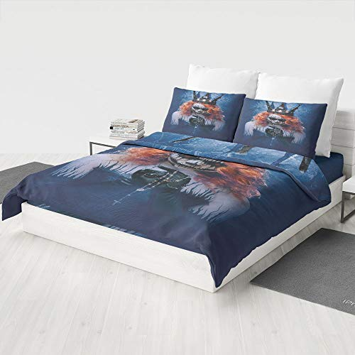 MASCULINTY 3D Print Duvet Cover Set,Queen,Pattern Revesible Bedding Set Cotton Children Boys Girls Duvet Cover Set 3 Piece Summer Comforter Cover Set(Queen) -