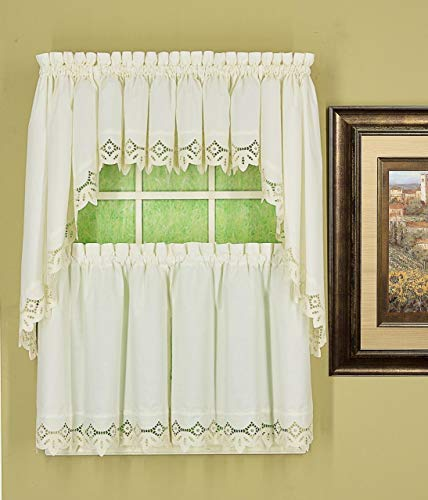 Today's Curtain Heirloom Eyelet Embroidered Cutwork Battenberg Style Window Collection (White, 58W x 36L Tier Pair)