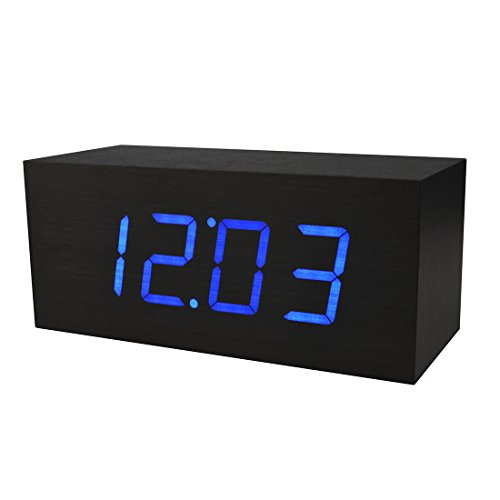 Electronic Alarm Clocks, PeleusTech Rectangle Wooden Table Clock Blue LED Sound Activated Digital Alarm Clock (US Plug) - Black (Digital Clock Small Plug)