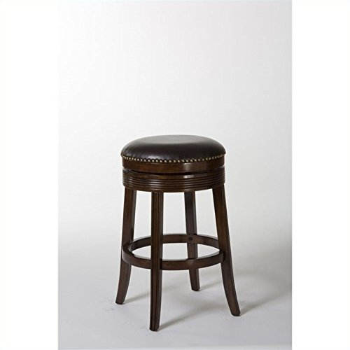 Backless Swivel Bar Stool in Brown Cherry Finish