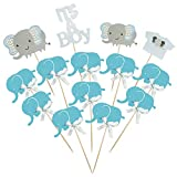 BTSD-home Blue Elephant Cake Topper Baby Elephant Themed Cupcake Picks It Is A Boy Baby Shower Birthday Party Decorations Supplies