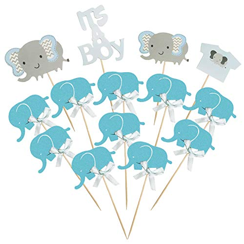 BTSD-home Blue Elephant Cake Topper Baby Elephant Themed Cupcake Picks It Is A Boy Baby Shower Birthday Party Decorations Supplies by BTSD-home