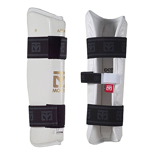 Mooto New Taekwondo Shin Protector WTF Approved White & Black XS to XL (White, 4.L(5.58-6.17ft or 170-188cm))