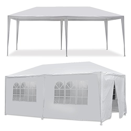 Smartxchoices 10' x 20' Outdoor White Waterproof Gazebo Canopy Tent with Removable Sidewalls Windows Heavy Duty Tent for Party Wedding Events Beach ()