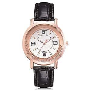 OPAKY Relojes Pulsera Mujer Reloj de Cuarzo de Acero Inoxidable de Cuero de la Barrena de