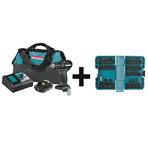 Makita XFD11R1B 18V LXT Lithium-Ion Sub-Compact Brushless Cordless 1/2″ Driver-Drill Kit (2.0Ah) with 35 Pc ImpactX Driver Bit Set