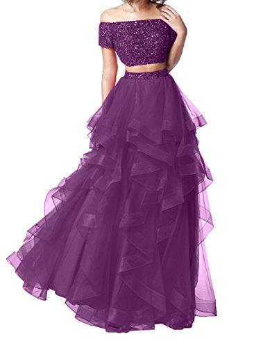 A Abiballkleider Lila Promkleider Charmant mit Linie Langes Weinrot Ballkleider Steine Abendkleider Damen Elegant 7IwWIqn4C