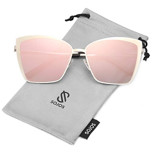 SOJOS Cateye Sunglasses for Women Fashion Mirrored Lens Metal Frame SJ1086 with Gold Frame/Gradient Pink Mirrored Lens