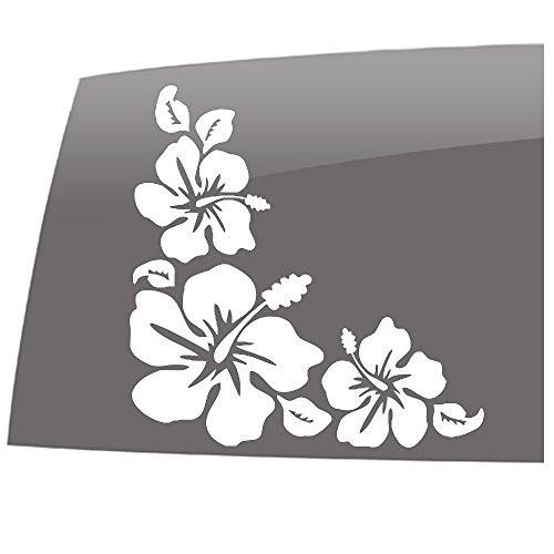 (Window Swag Hibiscus Flower - Corner Sticker - Solid White - Decal - Hawaiian - Flowers - Vinyl Sticker)