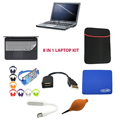 SNDIA 8 in 1 [Laptop Accessory Kit] Laptop Screen Guard,USB 2.0 Extension Plug 15cm,Keyboard Protector and Laptop Sleeve 15.6 inch,Rubber Pump Air Blower, Mini USB Led Lamp ,Ok Stand & Mouse Pad