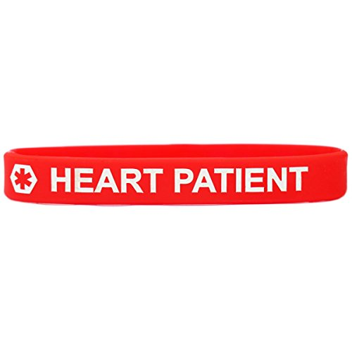 SayitBands Heart Patient Medical Alert Wristband Bracelet in Red