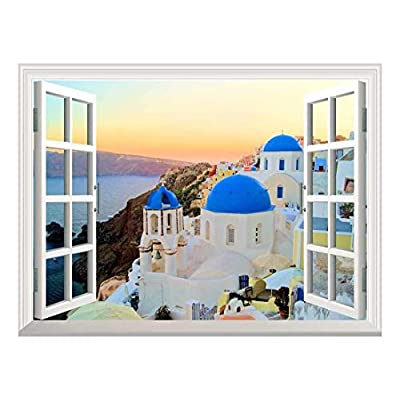 Wall26 Removable Wall Sticker/Wall Mural - Sunset View of The Blue Dome Churches of Santorini, Greece | Creative Window View Home Decor/Wall Decor - 36
