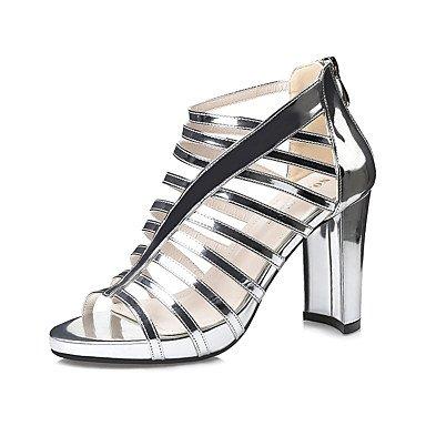 Leather Sandals Primavera Estate Gladiator Dress grosso Zipper donna tacco YCMDM , sliver , us5.5 / eu36 / uk3.5 / cn35