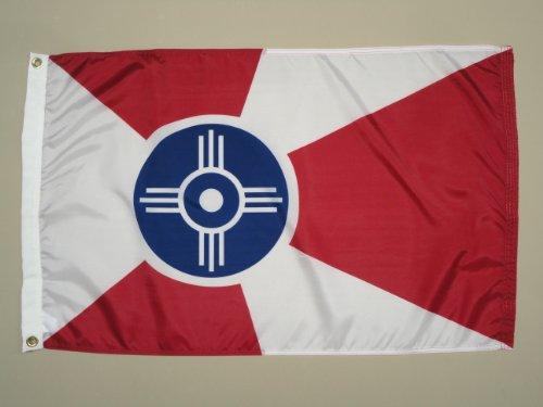 City of Wichita KS Indoor Outdoor Dyed Nylon Flag Grommets 2′ X 3′