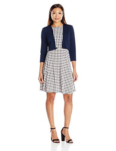 (Jessica Howard Women's Petite Two Piece Framed Jacket Dress, Navy/Blue 12P)