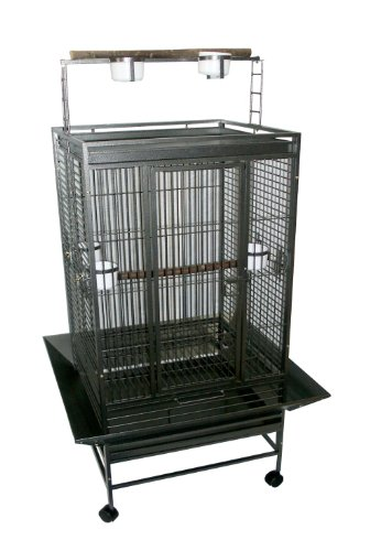 YML 3/4-Inch Bar Spacing Play Top Wrought Iron Parrot Cage, 32-Inch by 23-Inch In Antique Silver by YML