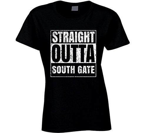 Straight Outta South Gate City Grunge Worn Look Cool T Shirt L Black (South Gate City)